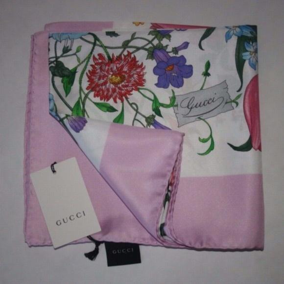 Gucci Floral Pink Silk Shawl Scraf Pashmina